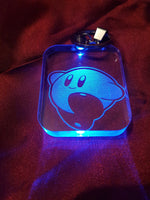 Kirby LED Light Up Keychain- Acrylic Sign\Lamp - Pink Dont Shrink - Laser Engraved - Color Change - Multi Colored - Dream Land - Right Back