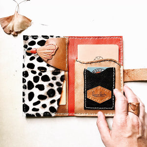 Cheetah print, one of a kind, leather wallet clutch by Bernice London