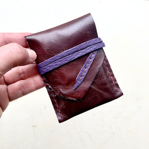 upcycled, leather card holder or slim wallet by Bernice London