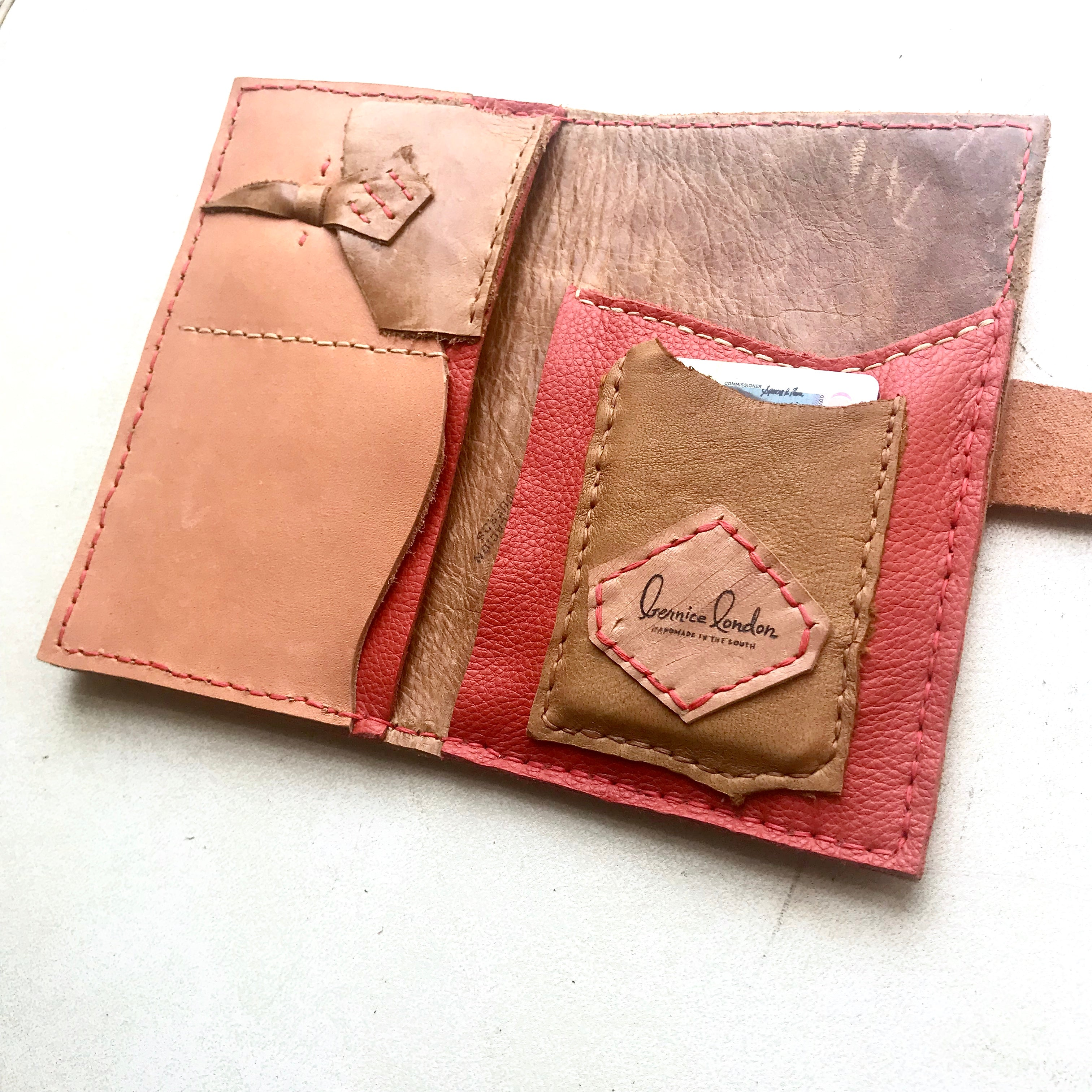 One of a kind leather wallet by Bernice London