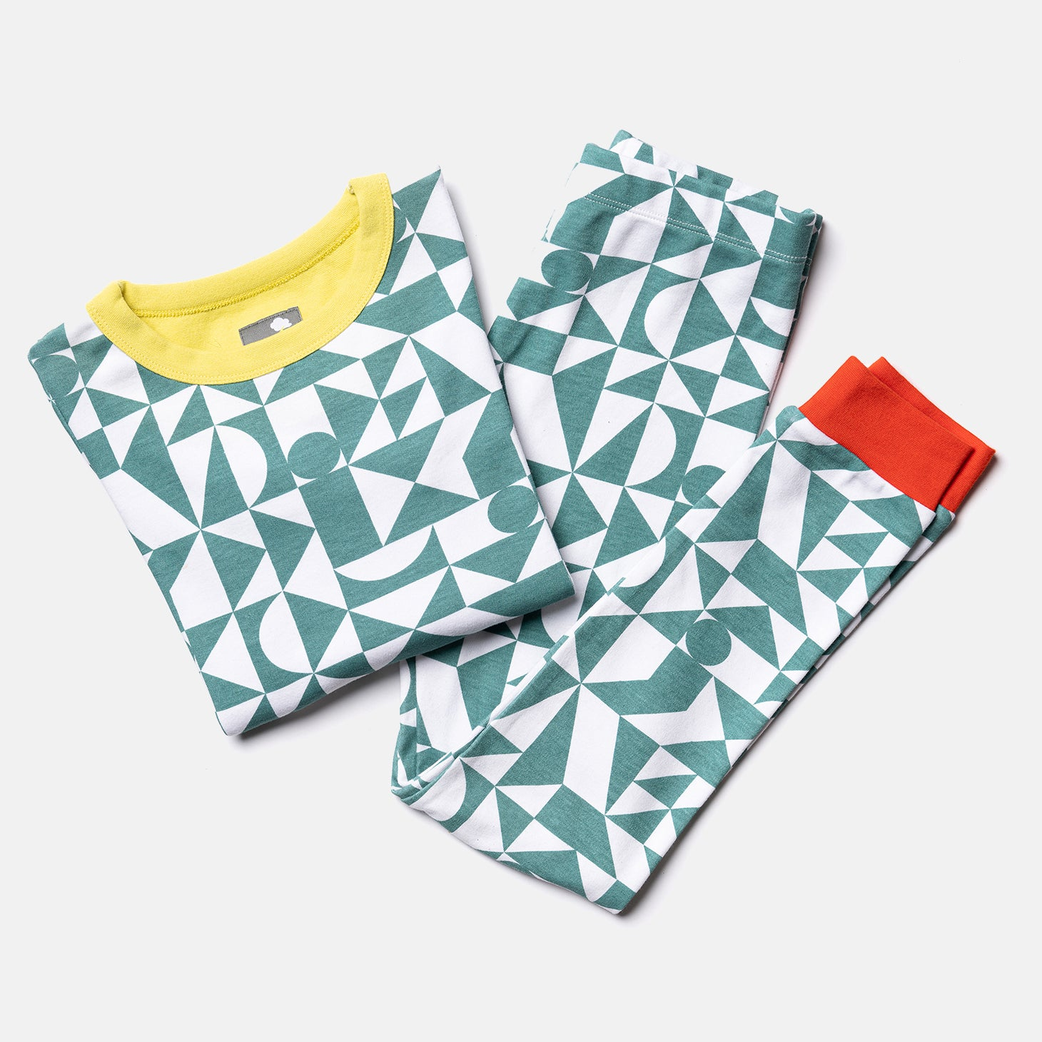 blue green geometric kids pyjamas