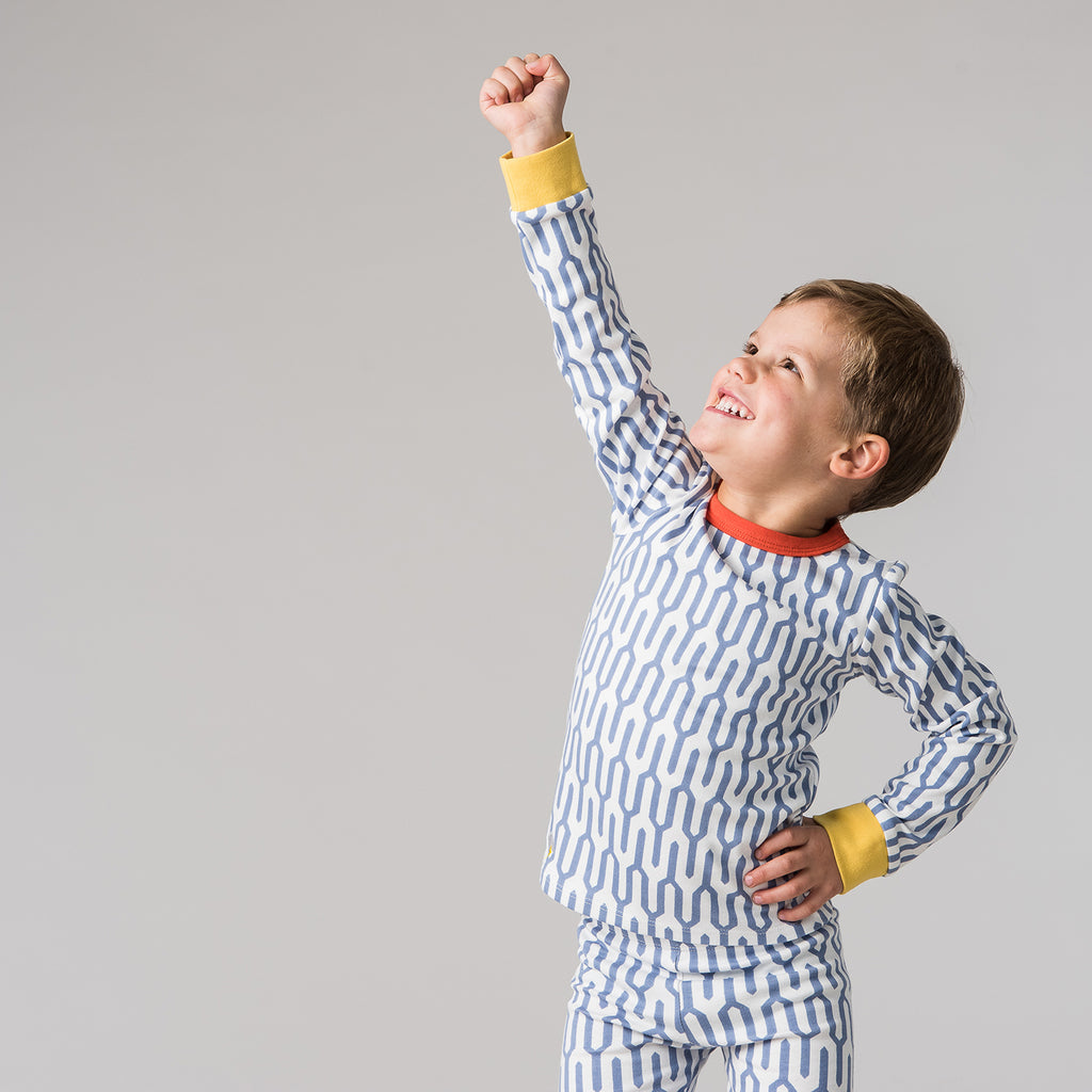 blue geometric kids pyjamas