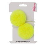 Neon yellow pom pom hair bobbles
