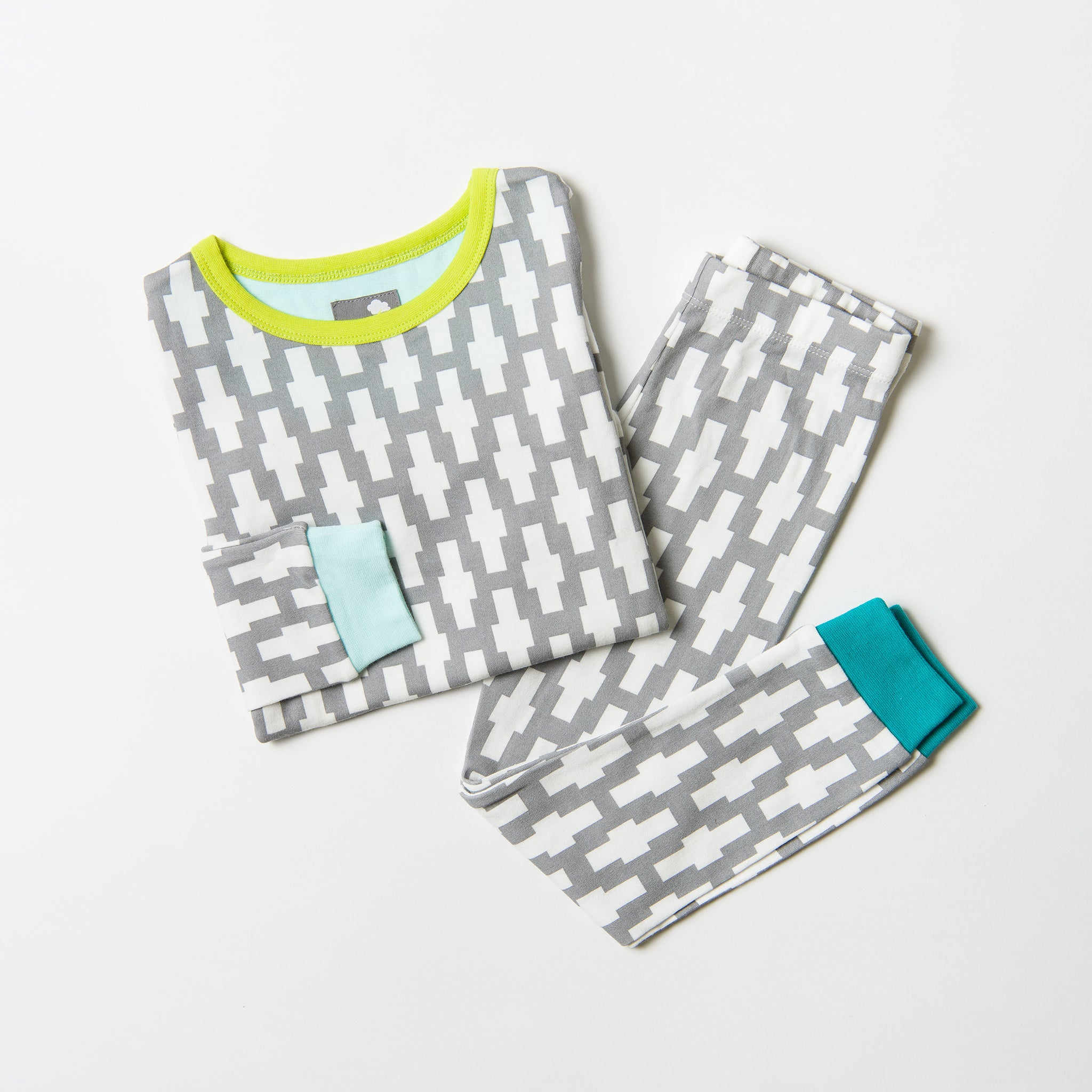 Kids Pyjamas - Graphiet Cross - bold grey print
