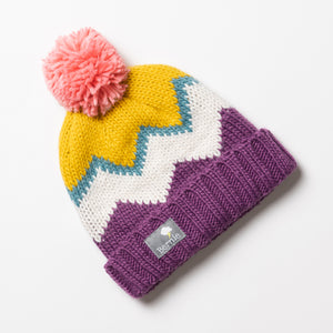 Bobble Hat - Chevron Berry