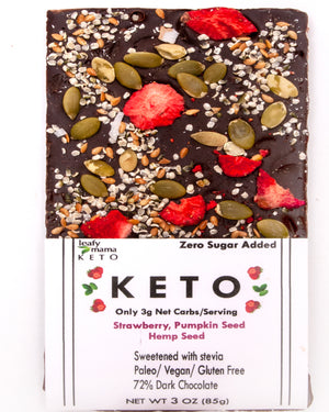 Just one bite of the Strawberry, Hemp, and Pumpkin Seed keto chocolate bar and you'll wish this moment of bliss would last forever! Each serving has 3 net grams of carbs, dark and exotic 80% cacao, with NO added sugar!  Three bars per order
