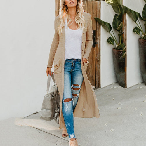 Single Breasted  Draped Pocket  Plain Cardigan