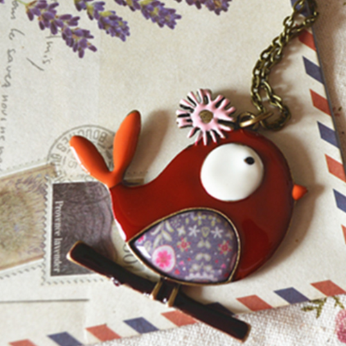 Glazed cartoon bird necklace long necklace