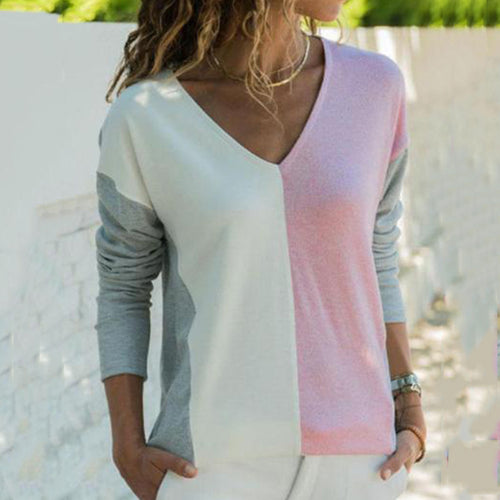 V Neck  Color Block T-Shirts