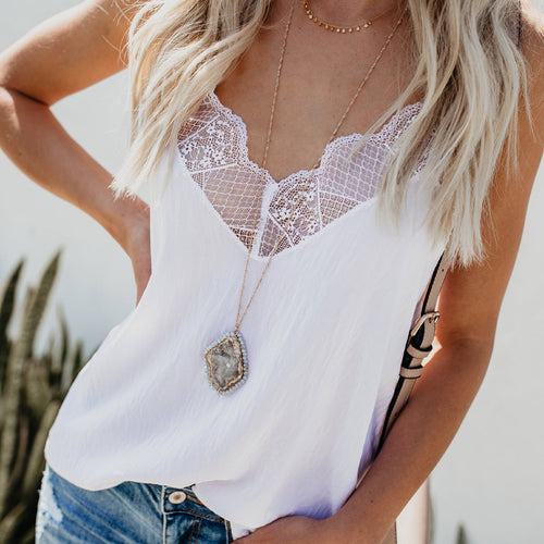 Casual Loose Sexy Lace   Stitching Vest Blouse