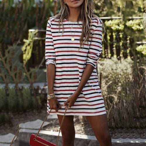 Round Neck Striped  Long Sleeve Casual Mini Dress