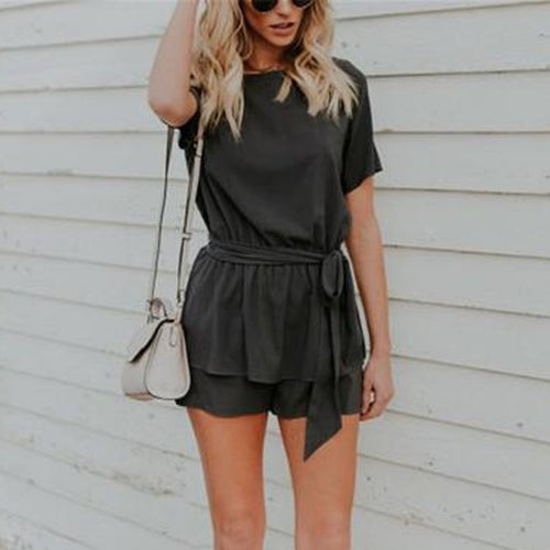 Fashion Round Collar Plain Belted Loose Rompers