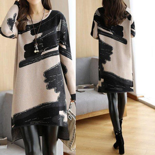 Abstract Knitted Crew Neck Long Sleeve Casual Sweater Dress