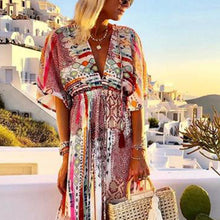 Load image into Gallery viewer, Casual Printed Colour V Neck Short Sleeve Maxi Dress