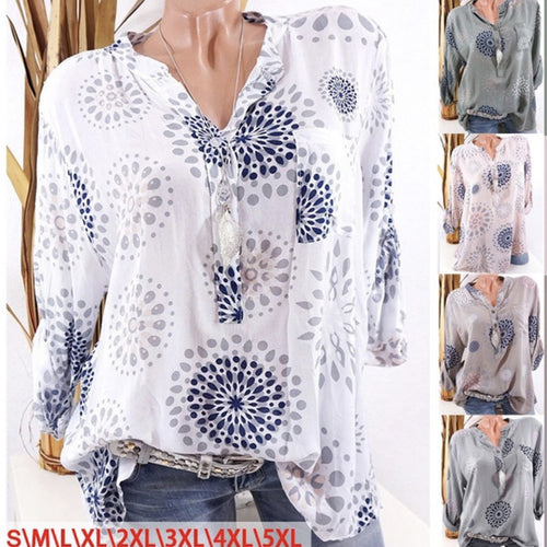 Autumn Spring  Polyester  Women  Decorative Button  Printed  Long Sleeve Blouses