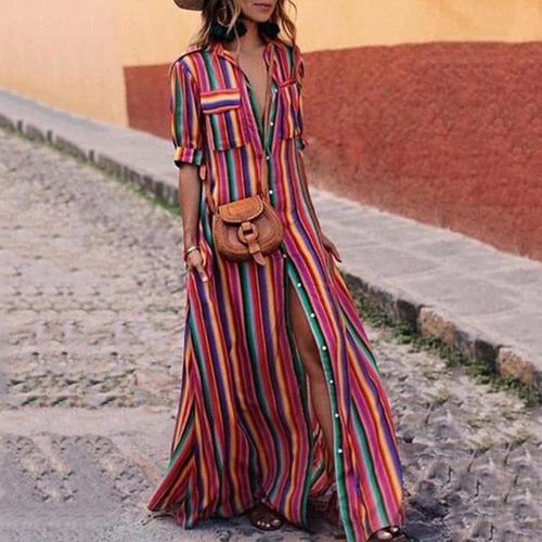 Button Down Collar  Stripes  Roll Up Sleeve  Half Sleeve Maxi Dress