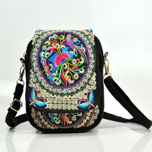 Women Vintage Embroidery Zero Wallet Mobile   Phone Packages Handbag Shoulder Bag