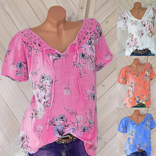 Lace V-Neck Print Short-Sleeved T-Shirt