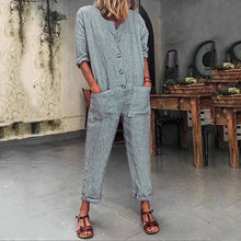 Load image into Gallery viewer, Fashion Solid Color Pocket  Button Jumpsuit