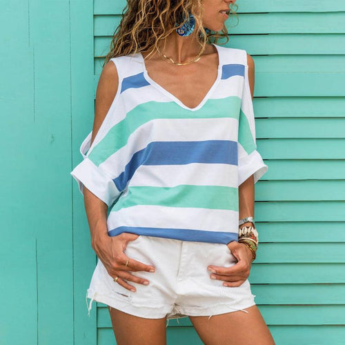V Neck Hollow Out Short Sleeve Striped T-Shirts