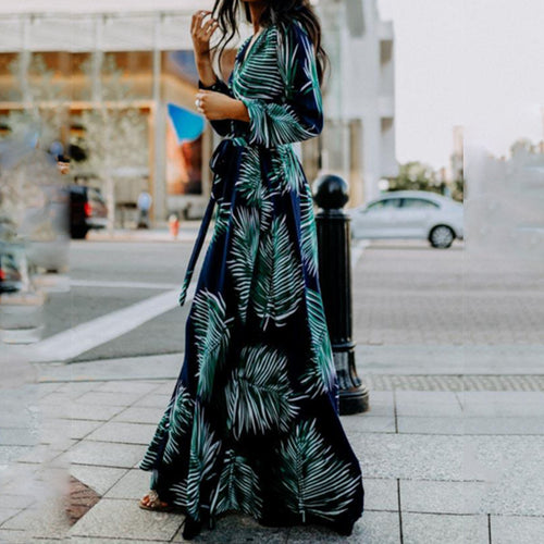 Sexy Deep V Collar Leaves Printed Maxi Dress