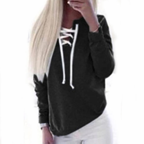 Asymmetric Neck  Drawstring  Plain  Sweatshirt