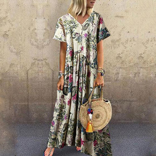 Casual V Neck Short Sleeve Printed Colour Pressure Plait Dress