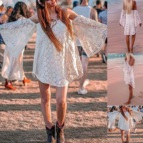 Bohemian V Neck Hollow Out Lace Loose Off-Shoulder Dress
