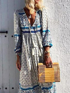 V-Neck Cotton And Linen Printed   Tassel Dress