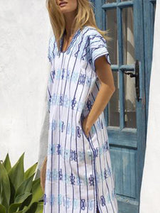 Fashion Loose Print Split Short Sleeve Casual Maxi Dress
