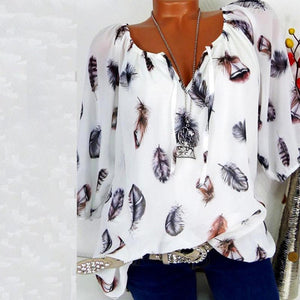 Autumn Spring Summer  Cotton  Women  Tie Collar  Feather  Three-Quarter Sleeve Blouses