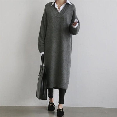 Fashion Simple Loose V-Neck Long Sleeves Knitted Sweater Shown Thin Maxi Dress