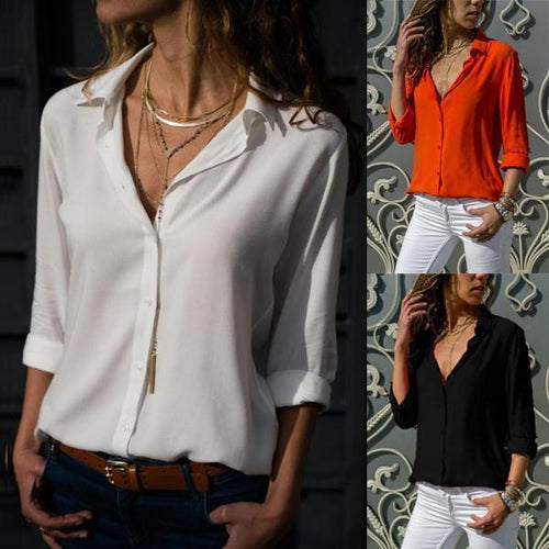 Turn Down Collar  Single Breasted  Plain  Blouse