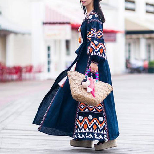 Bohemian Round Neck Tassel Printed Colour Belted Long Sleeve Dress