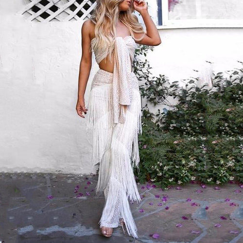 Vacation Fashion Casual Lace Slim Lace-Up Tube Top Fringe High Waist Long Pants Suit