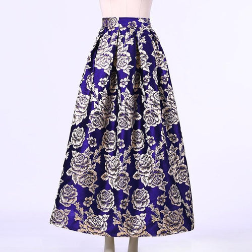 Flower Pattern High Waist Big Swing Skirt