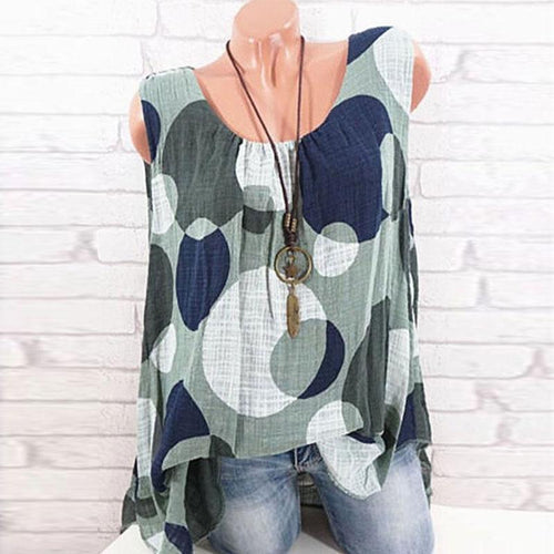 Round Neck  Polka Dot  Sleeveless Blouses