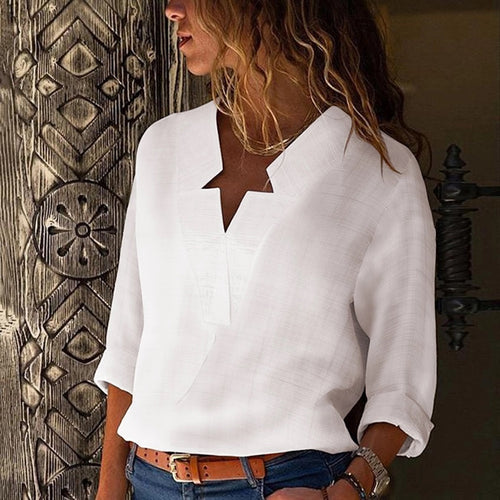 Sexy V Neck Pure Color Blouse