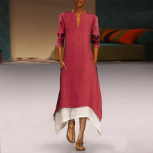Load image into Gallery viewer, Cotton/Linen Contrast Color Casual  Maxi Dress With Pocket