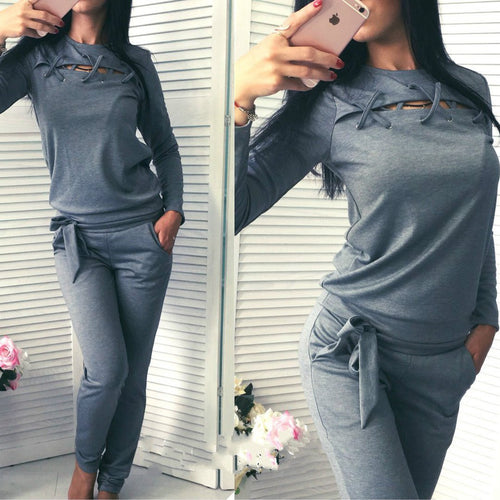 Fashion Casual Long-Sleeved Sweater Two-Piece Suit