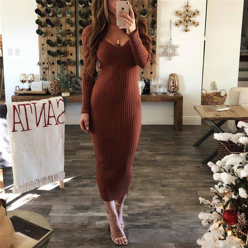 Sexy Round Collar Long Sleeves Comfortable Striped Cloth Wrapped Hip Dress