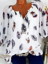 Load image into Gallery viewer, Autumn Spring Summer  Cotton  Women  Tie Collar  Feather  Three-Quarter Sleeve Blouses