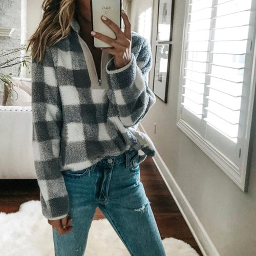 Fashion Lapel V Neck Zipper Long Sleeve Plaids Sweater