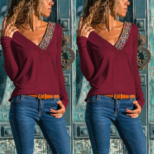 Fashion Deep V Embroidery Stitch Long Sleeve T-Shirt