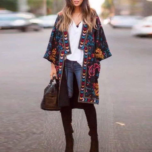 Fashion Floral Pattern Printed Coat