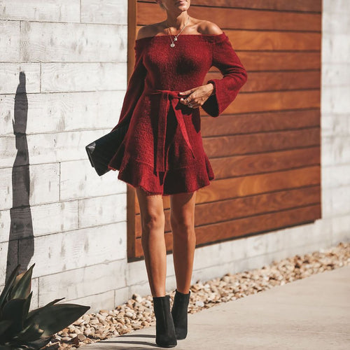 Fashion Casual Lace-Up Strapless Sweater Dresses