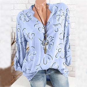 V Neck  Loose Fitting  Print Blouses