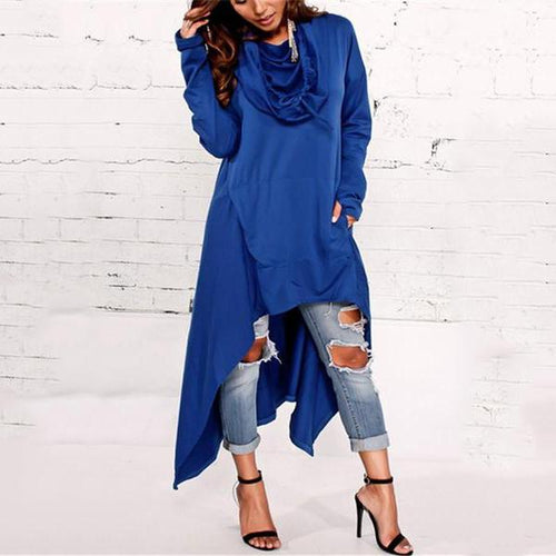 Casual Pure Color Oversize Long Hooded Fleece