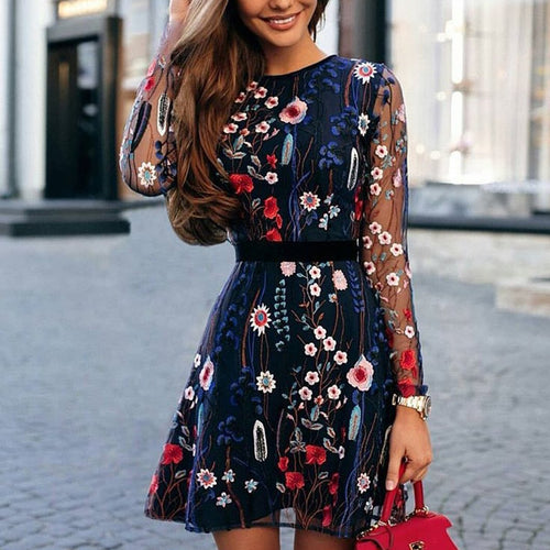 Embroidered Lace-Paneled Long-Sleeved Dress