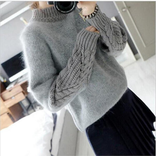 Casual Pure Color   Loose Hemp Sleeve Half Turtleneck Sweater